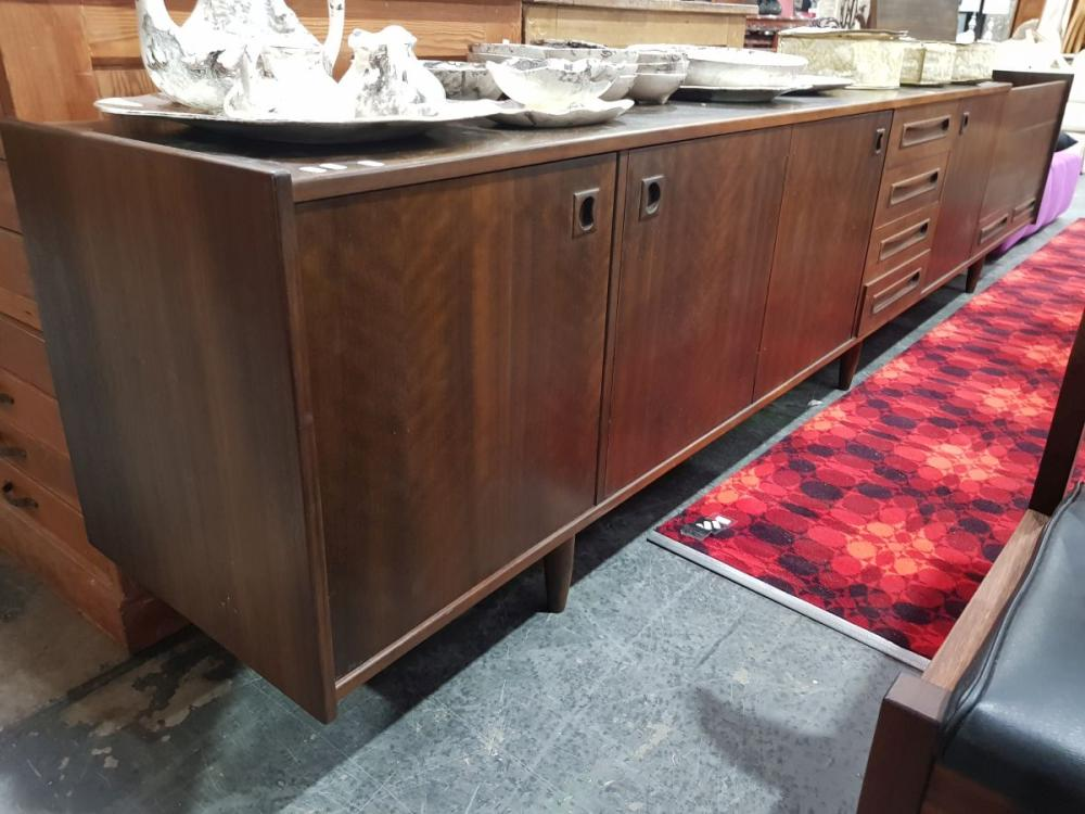 Long Vintage Sideboard with 4 Doors 4 Drawers and fitted Drinks Section
