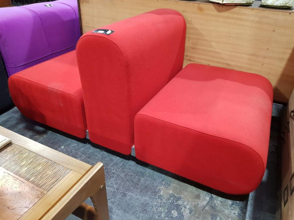 Red Upholstered 1960's Knoll Kazuhide Takahama Suzanne Double Lounge Chair