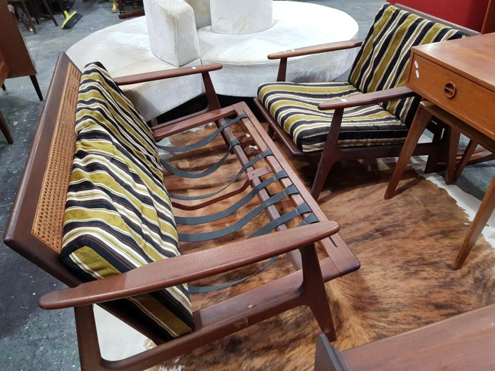 Vintage Teak Two Seater Sofa & Matching Armchair (missing support straps)