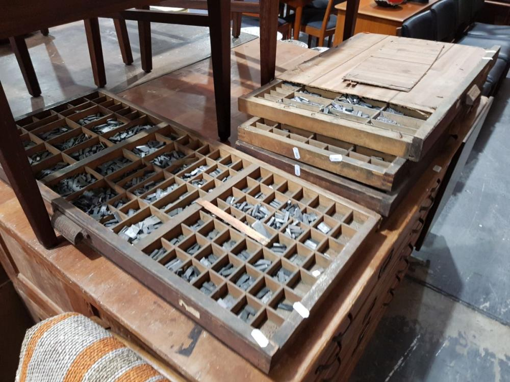 Collection of 6 Printers Trays of Type Set