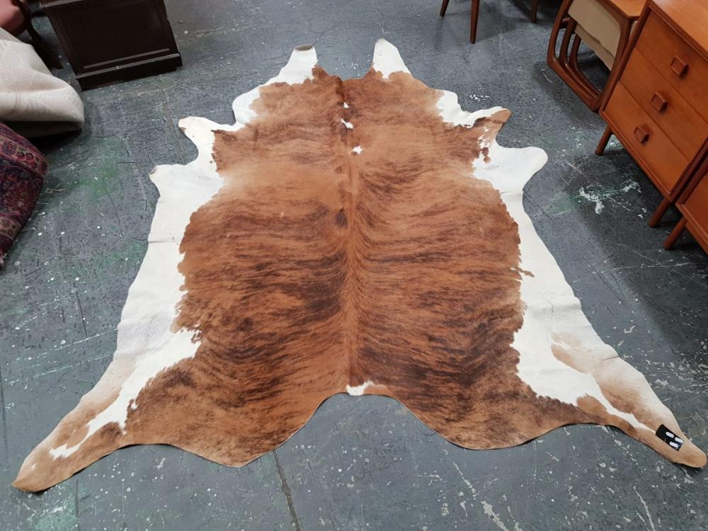 Large Brown and White Cow Pelt