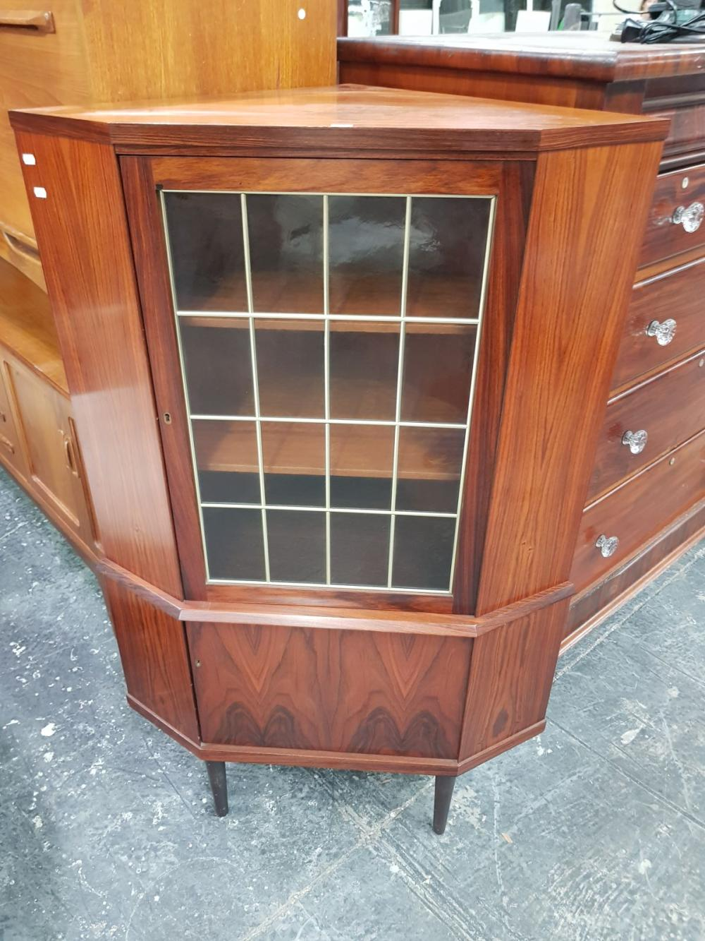 Danish Rosewood Corner Display Cabinet (key in office)