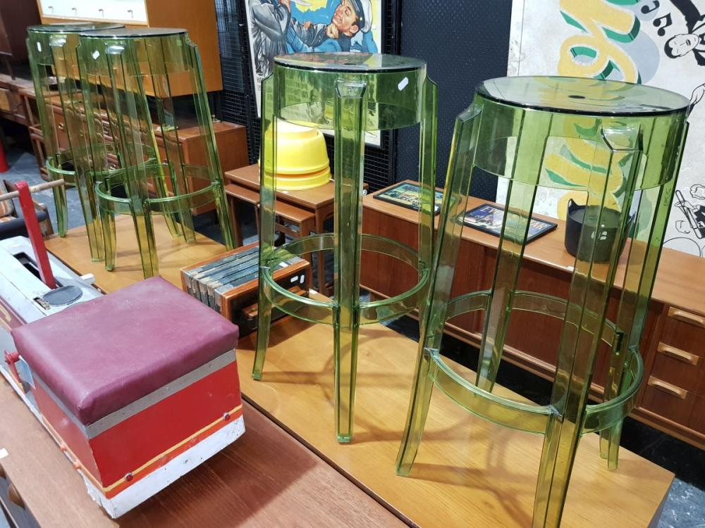 Set of 4 Green Tone Ghost Stools by Starck for Kartel