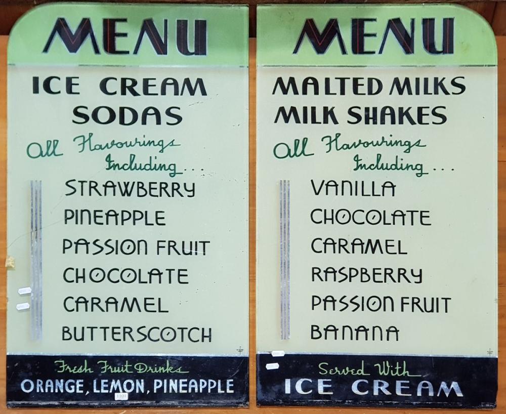 Pair of Vintage Glass Milkbar Menu Boards