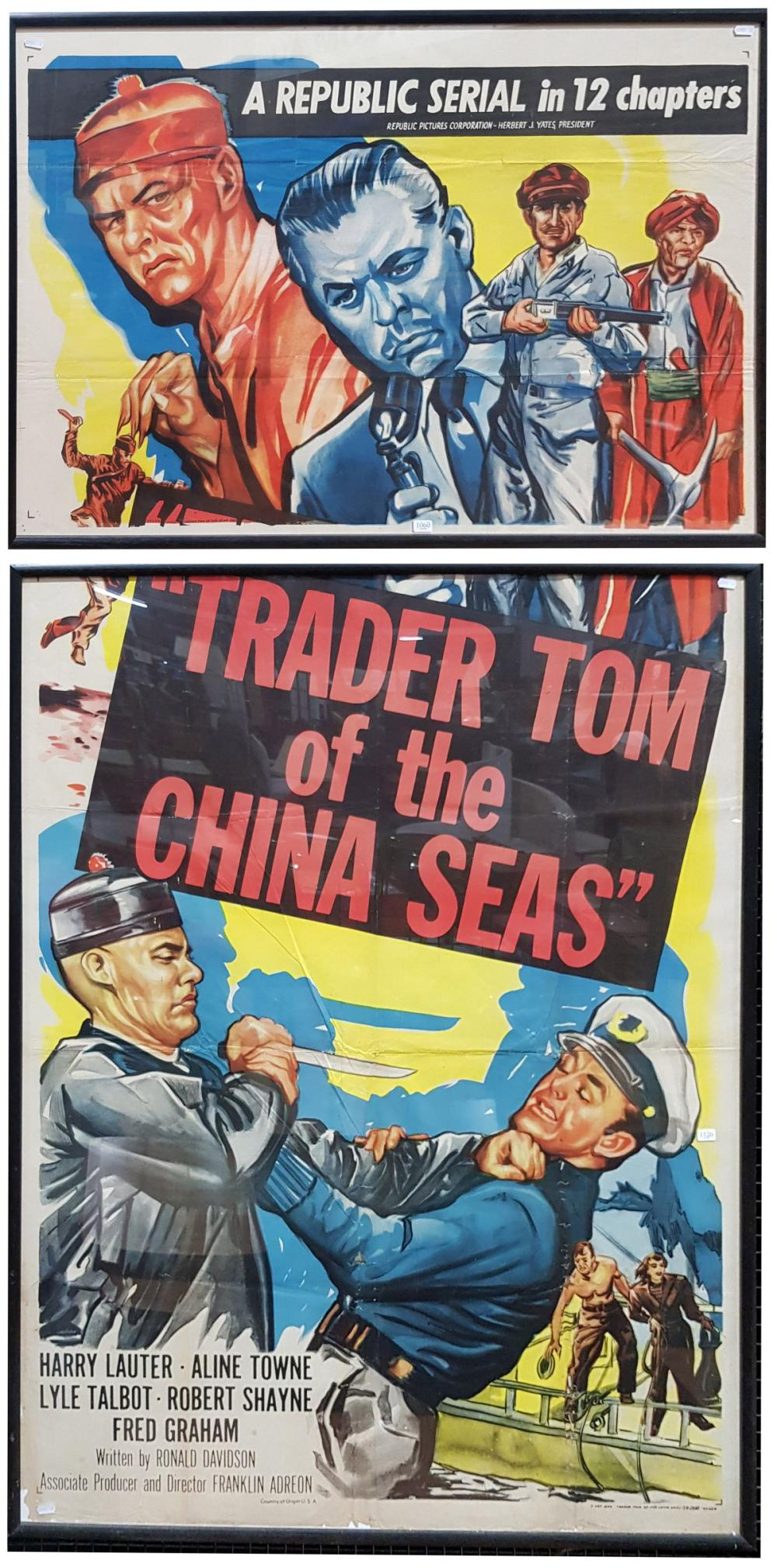 """Movie Poster in Two Frames """"A Republic Serial in 12 Chapters"""" colour lithograph 72 x 104cm  """"Trader Tom of the China Seas"""", colour l..."""