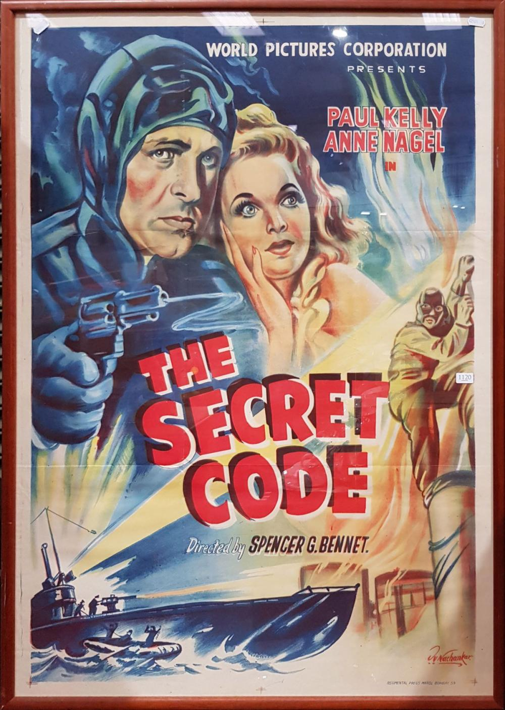 """Movie Poster """"The Secret Code"""", colour lithograph, 105 x 75cm -"""