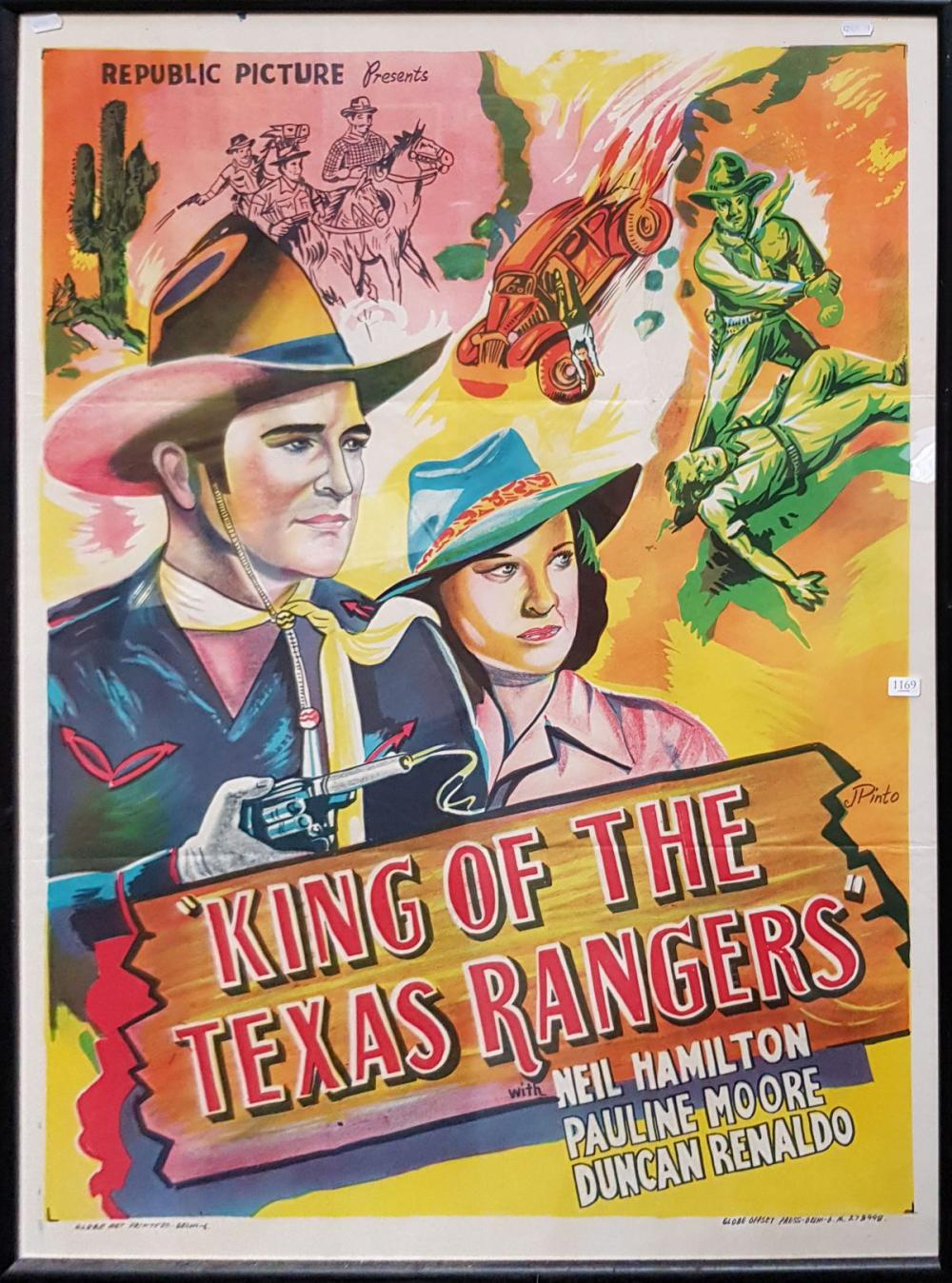 """Movie Poster """"King of the Texas Rangers"""" colour lithograph 106 x 79cm"""