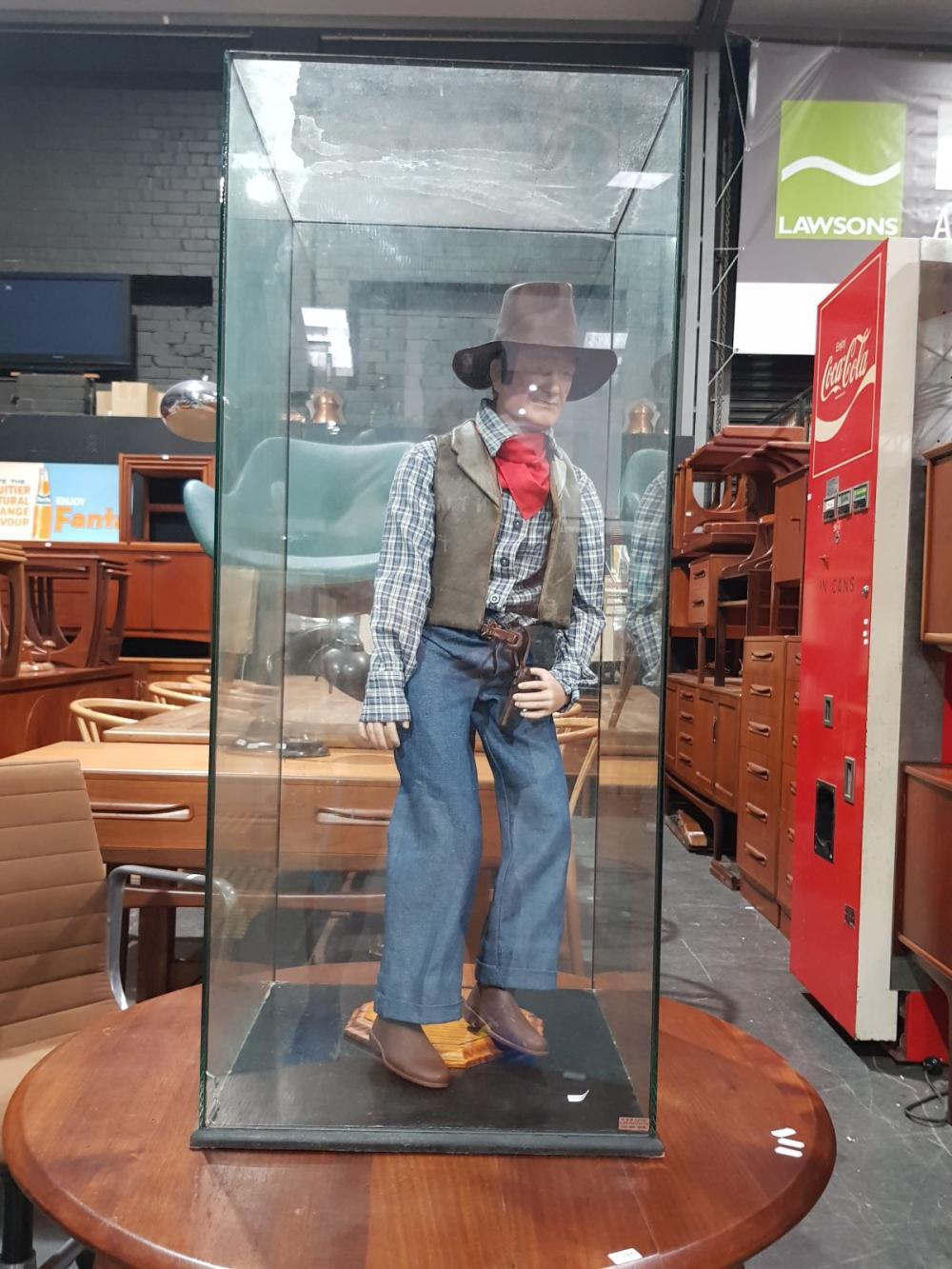 Ceramic Standing John Wayne Figure in Glass Case
