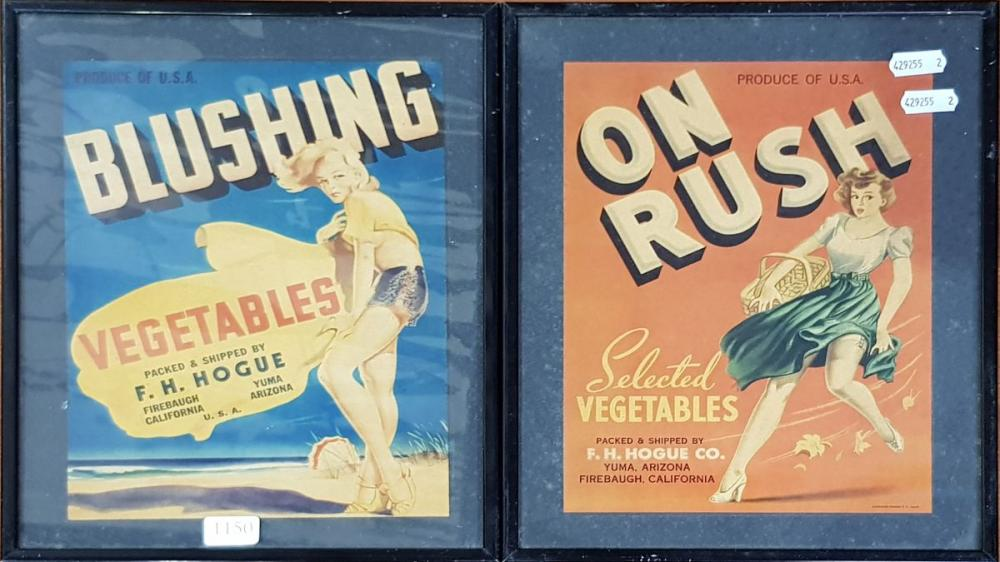Collection of 2 Californian Orange Box Labels, framed