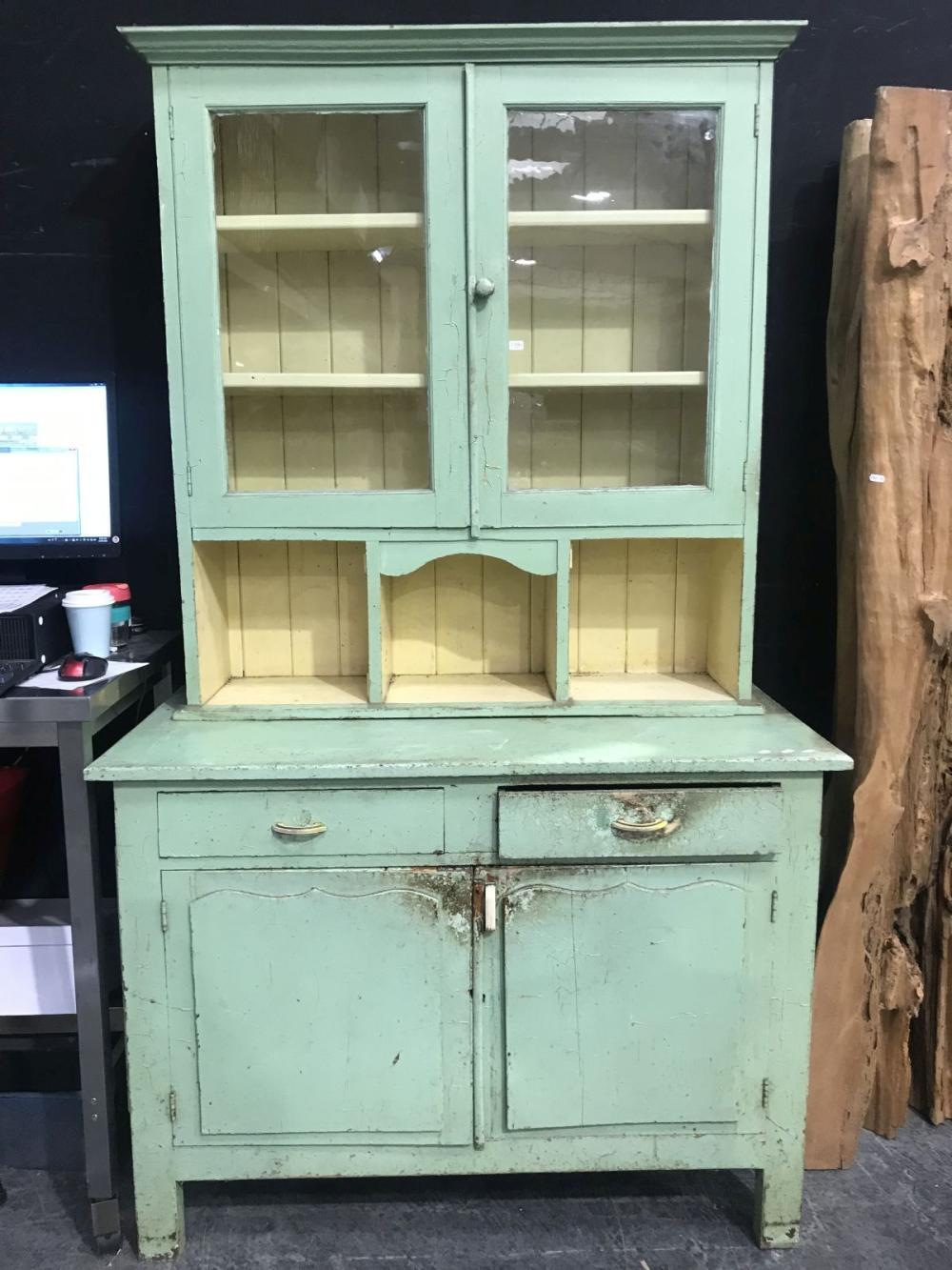 Bright Green Coloured Two Piece Kitchen Dresser