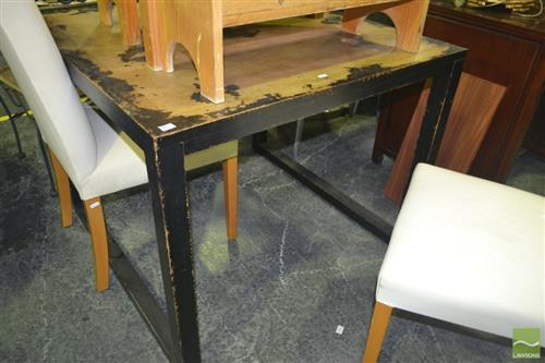 distressed finish black dining table 100x100cm. Black Bedroom Furniture Sets. Home Design Ideas