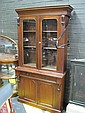 Late Victorian Mahogany Bookcase with 2 Glass & 2 Panel Doors & Drawer