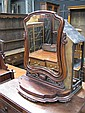 Large Victorian Mahogany Toilet Mirror on Lyre Shaped Support