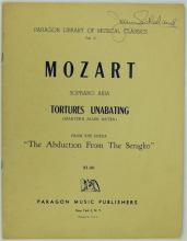 Dame Joan Sutherland Autographed Sheet Music by Mozart