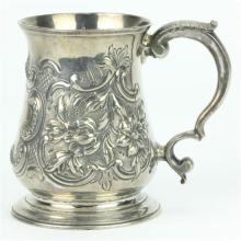 English Hallmarked Sterling Silver George III Christening Mug