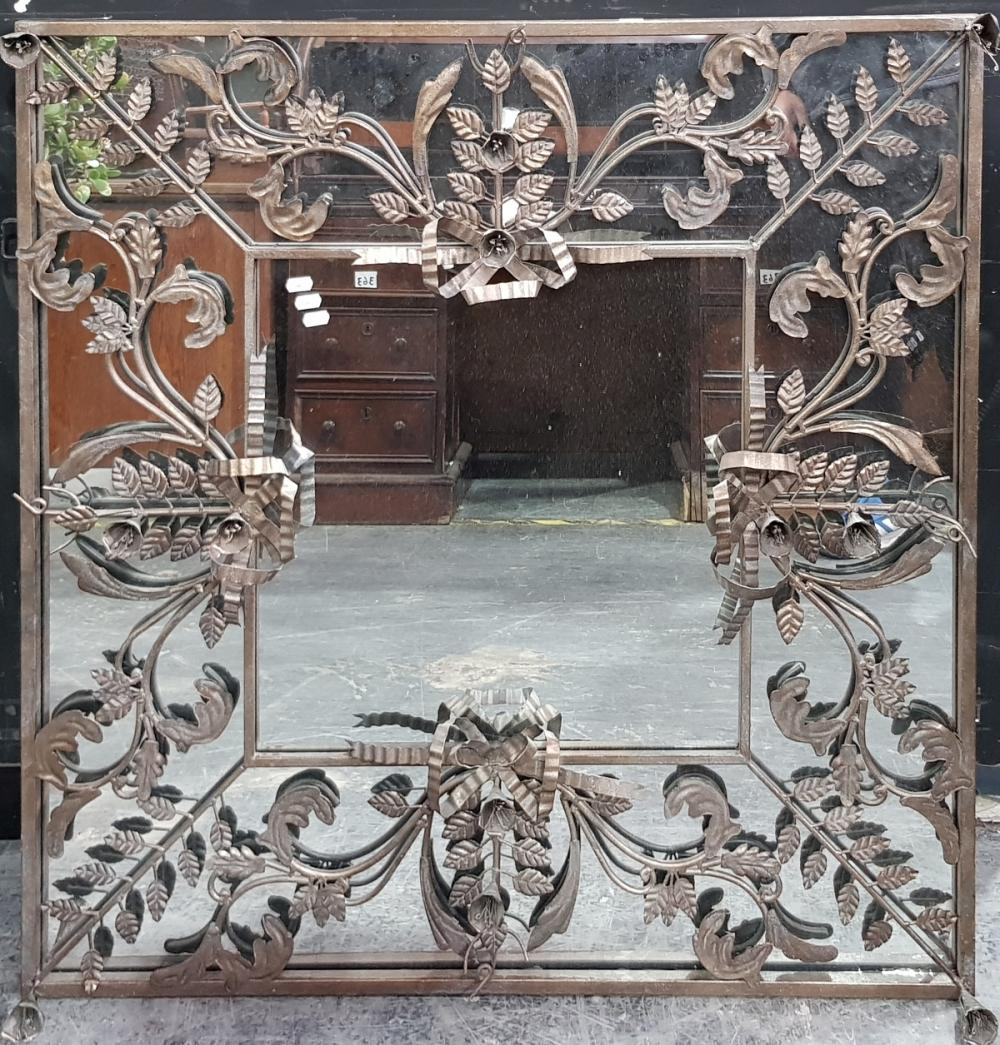 Ornate Floral Themed Metal Framed Square Mirror