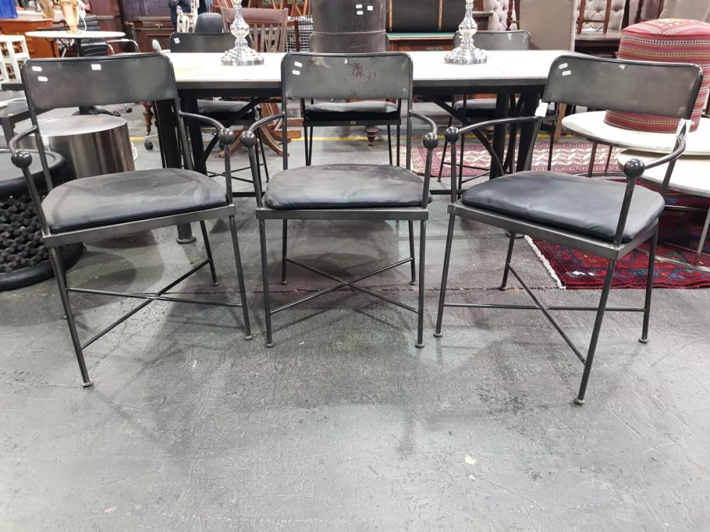 Set of Six Black Metal Carver Chairs with Padded Seat