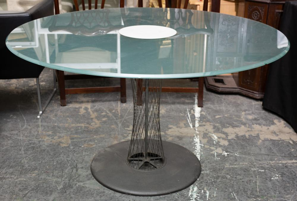 B & B Italia 'Rondo' breakfast table, designed by Andreas Storiko, with round glass & steel wire base, top 130cm diameter