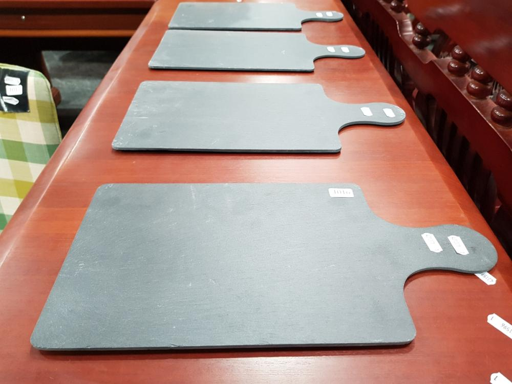 Set of Four Slate Serving Boards (40 x 20cm incl. handle)