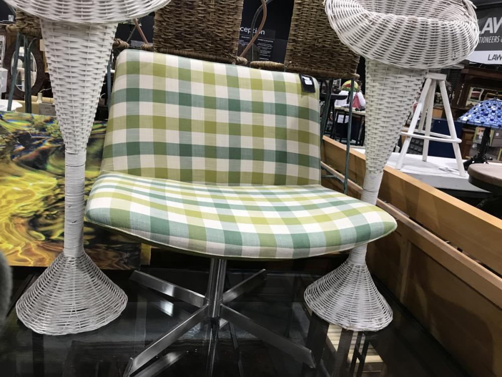 Green Chequered Occasional Chair