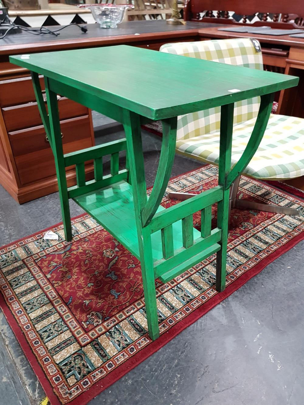 Green Painted Tiered Timber Occasional Table