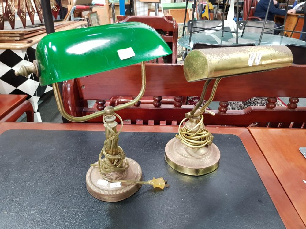 Brass Bankers Lamp with Green Shade & Another Example (2)
