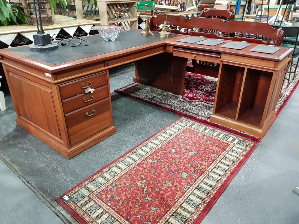 Timber Corner Desk with Leather Top