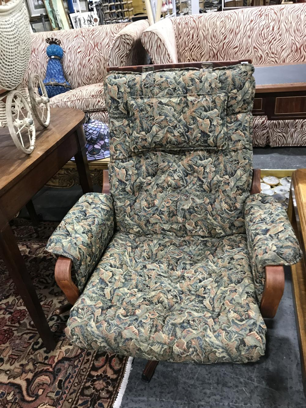 Rosewood Framed Reclining Armchair