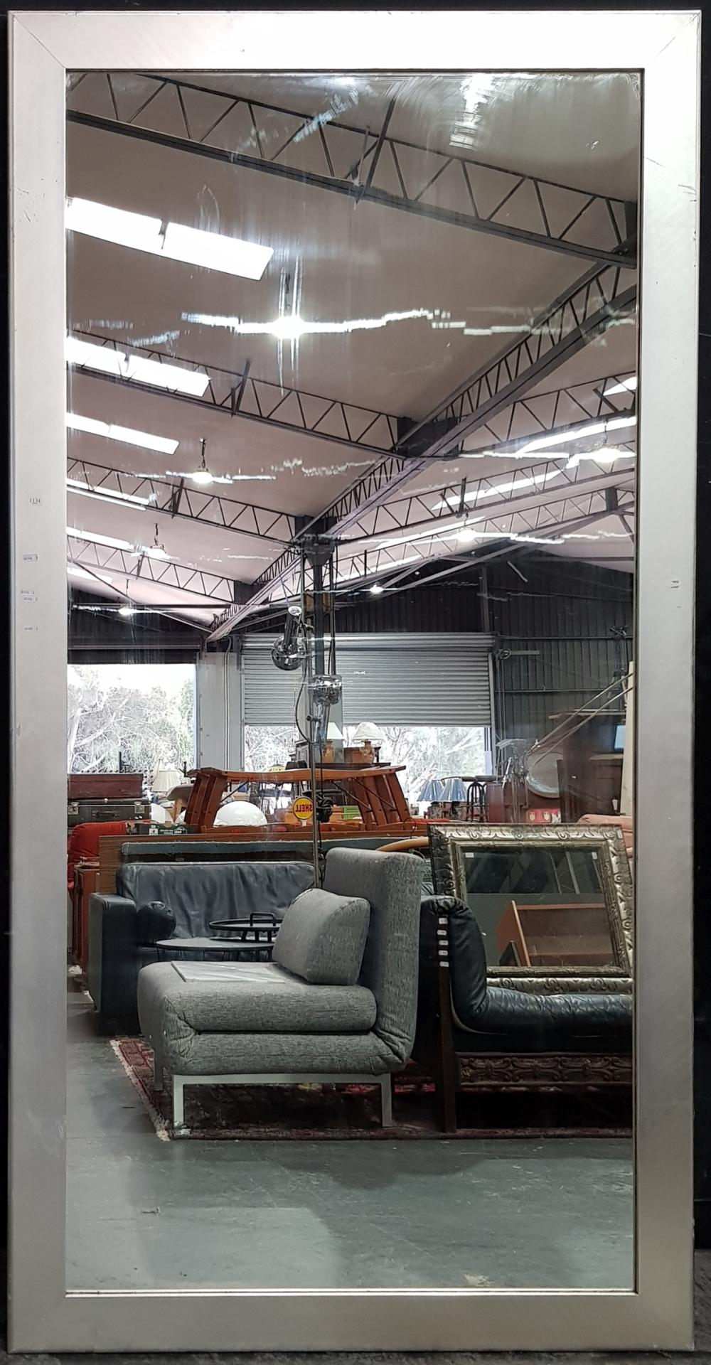 Large Silver Coloured Framed Rectangular Mirror