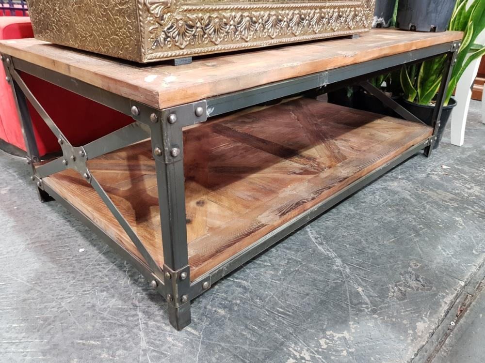 Recycled Elm Coffee Table with Iron Base