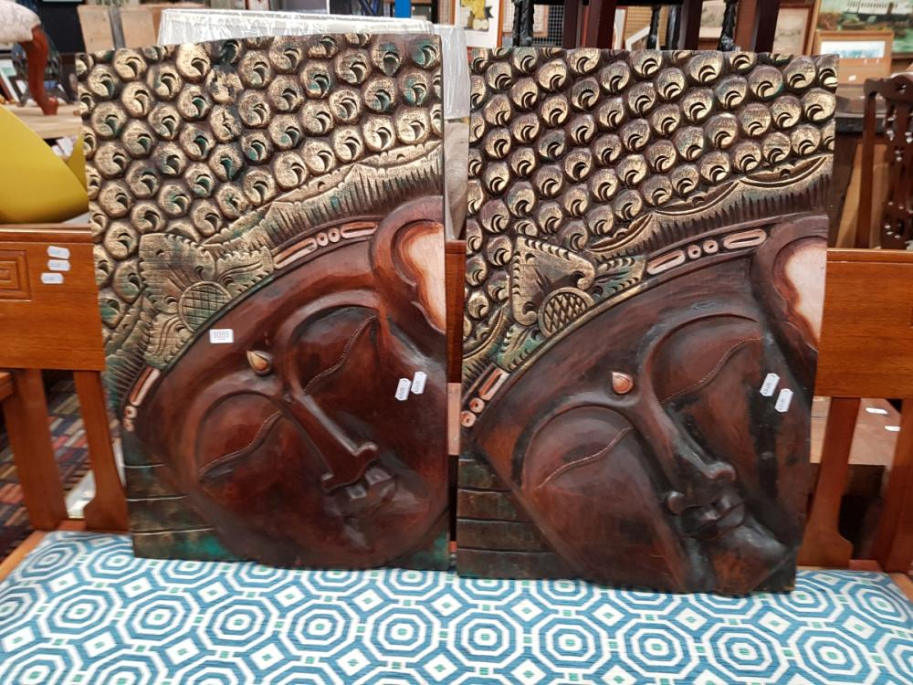 Pair of Timber Buddha Plaques