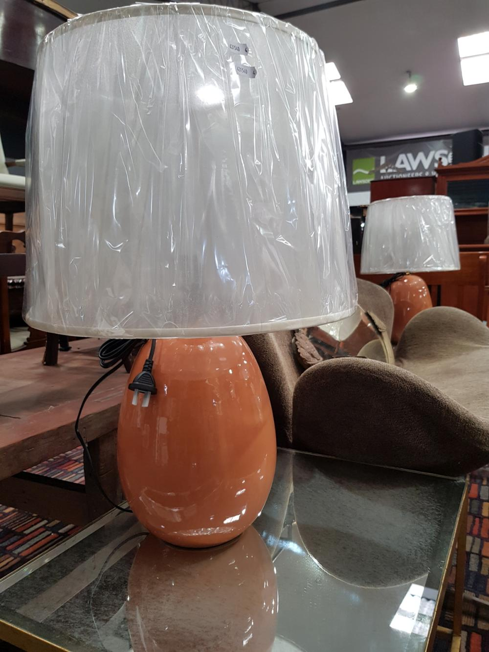 Pair of Ceramic Egg Shaped Table Lamps (2642)