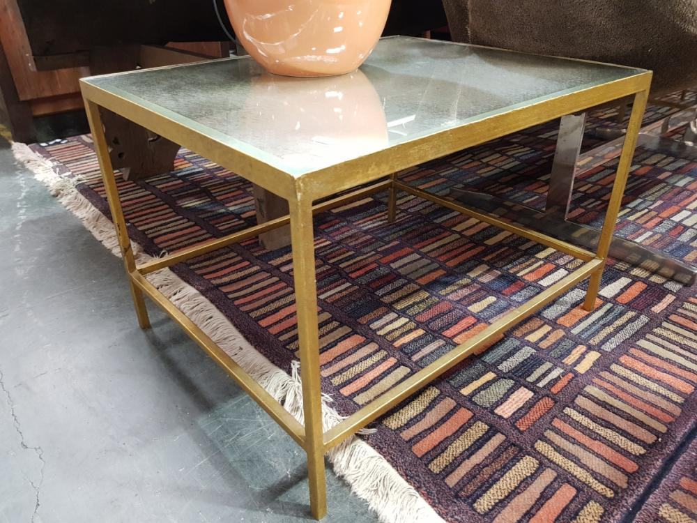 Pair of Mirrored Top Side Tables on Brass Base