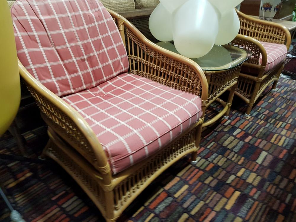 Cane Three Piece Lounge Suite incl. Pair Chairs with Cushions & Glass Top Occasional Table