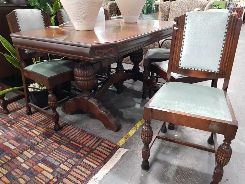 Art Deco Seven Piece Dining Setting incl. Stretcher Base Table & Six Chairs
