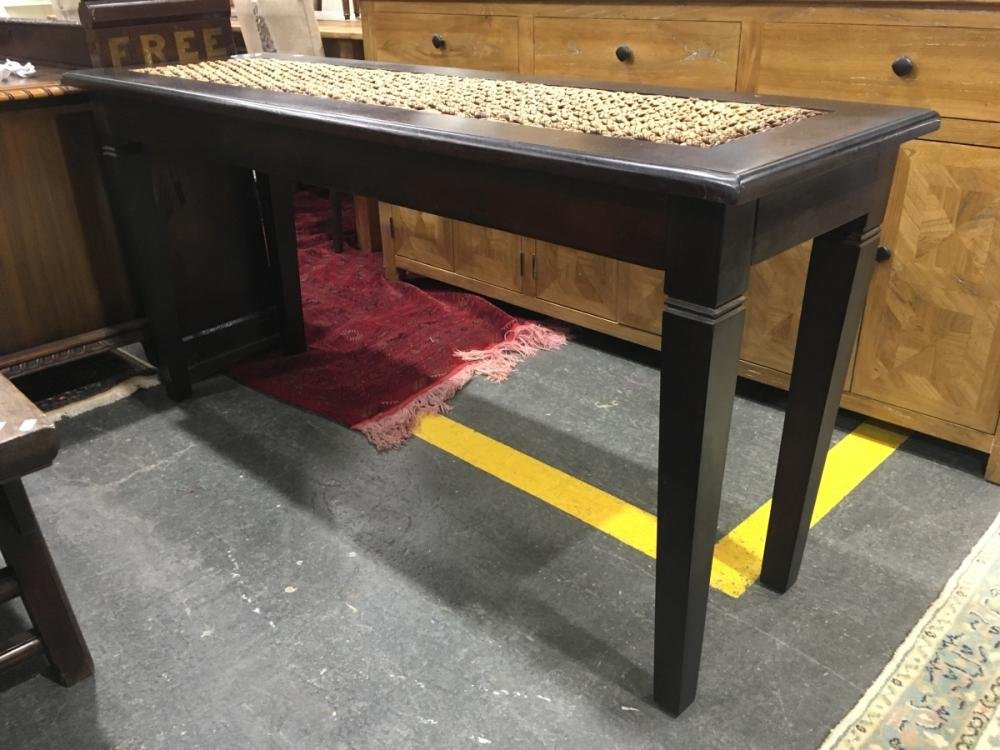 Timber Hall Table with Woven Rope Finish Top