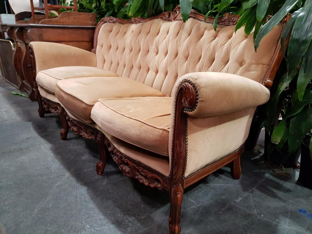French Style Carved Timber Three Seater Sofa
