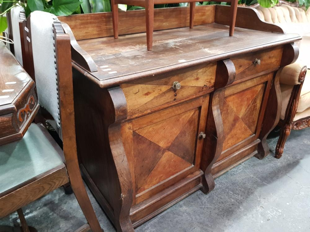 Rustic Timber Sideboard with Gallery Back, Two Drawers & Doors