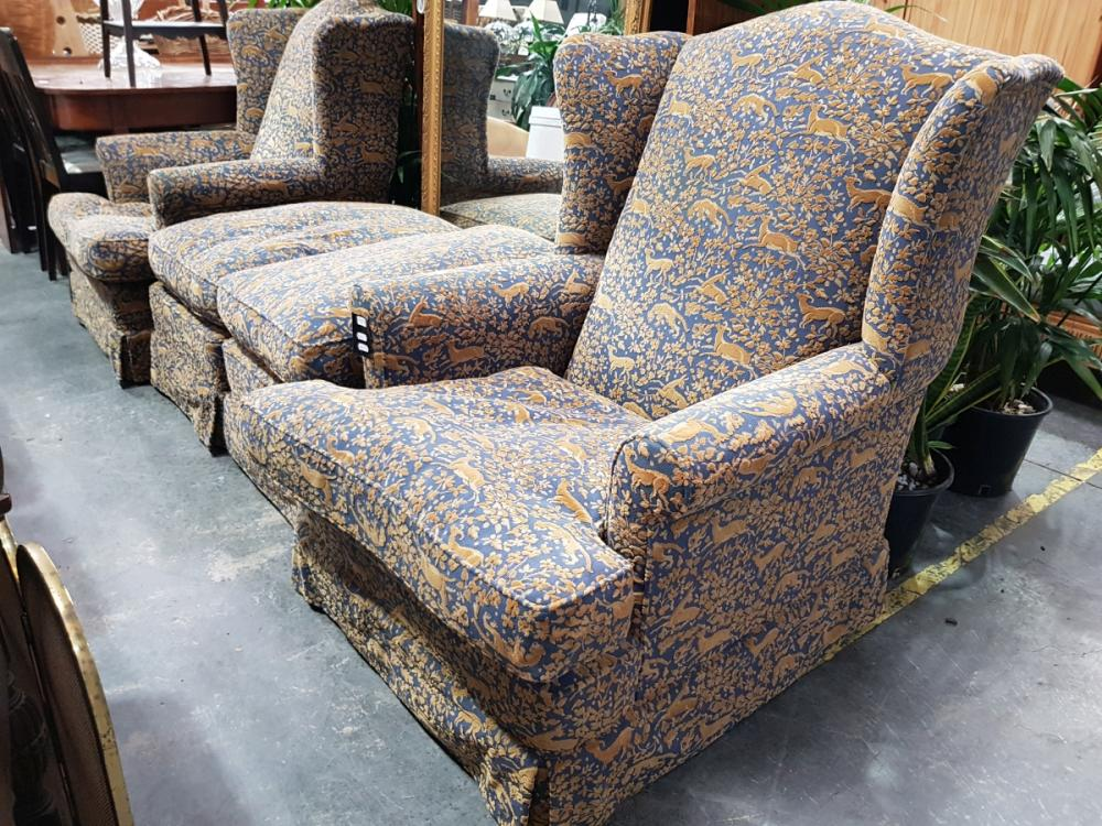 Pair of Vintage Wing Back Armchair with Animal Motif & Pair Footstools (4)