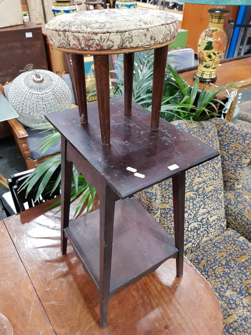 Tiered Timber Side Table & Vintage Foot Stool (2)