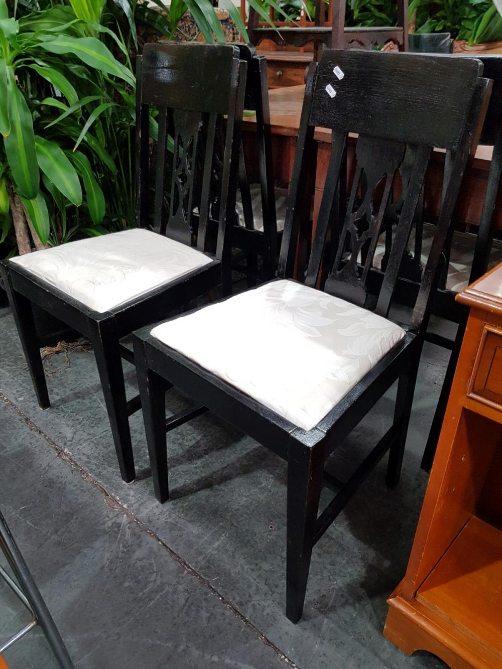 Set of Six Timber Chairs with Cushion Seat