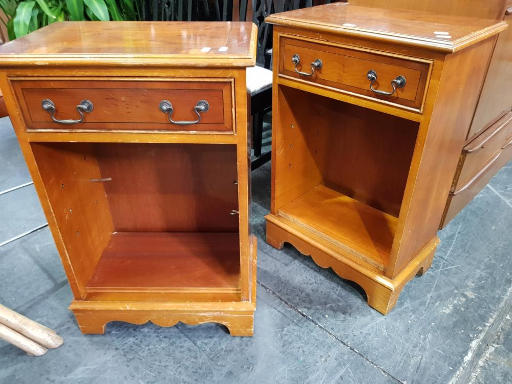 Pair of Timber Side Tables with Single Drawer