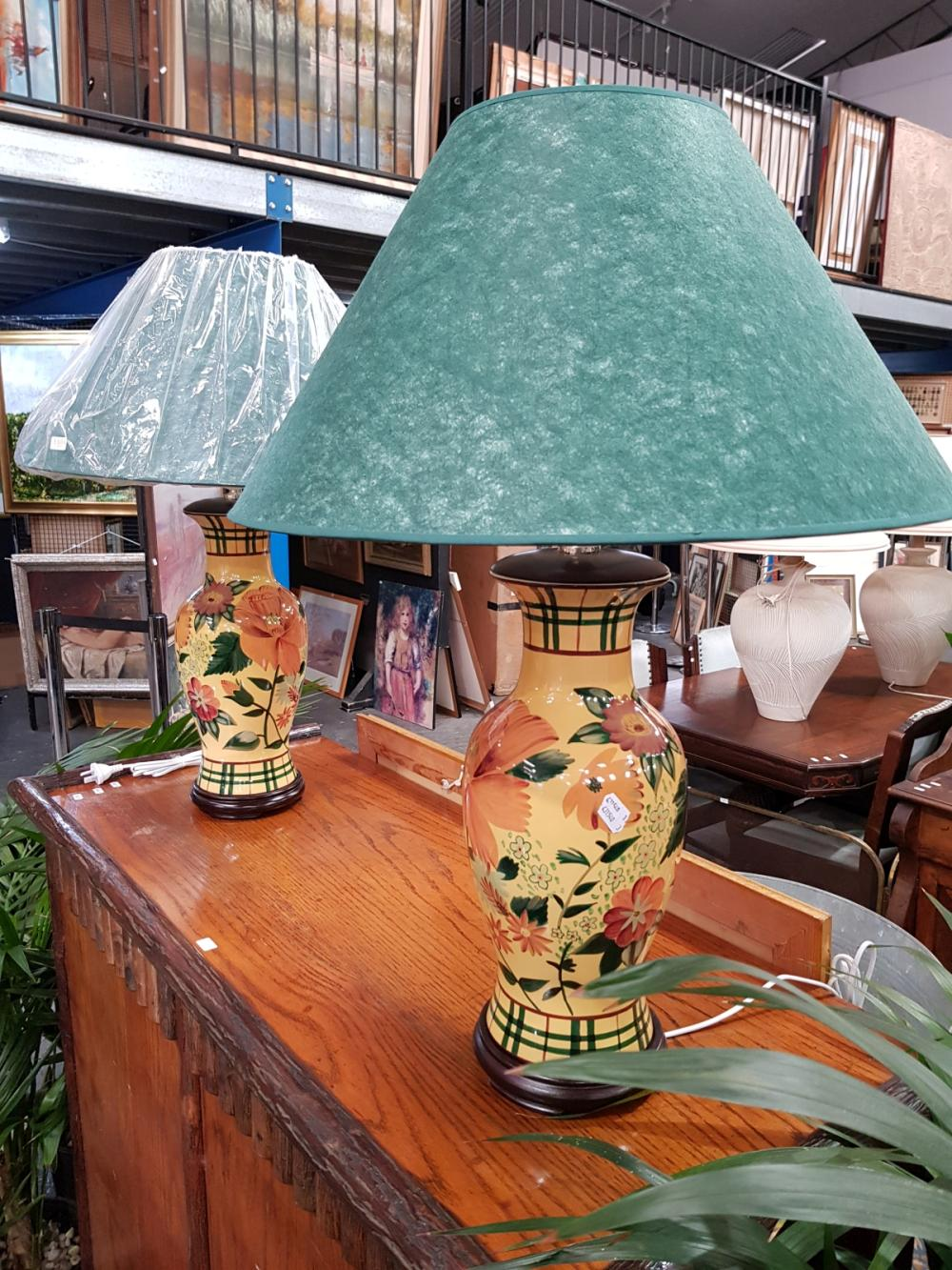 Pair of Tall Italian Ceramic Base Table Lamps with Hibiscus Motifs (2485)