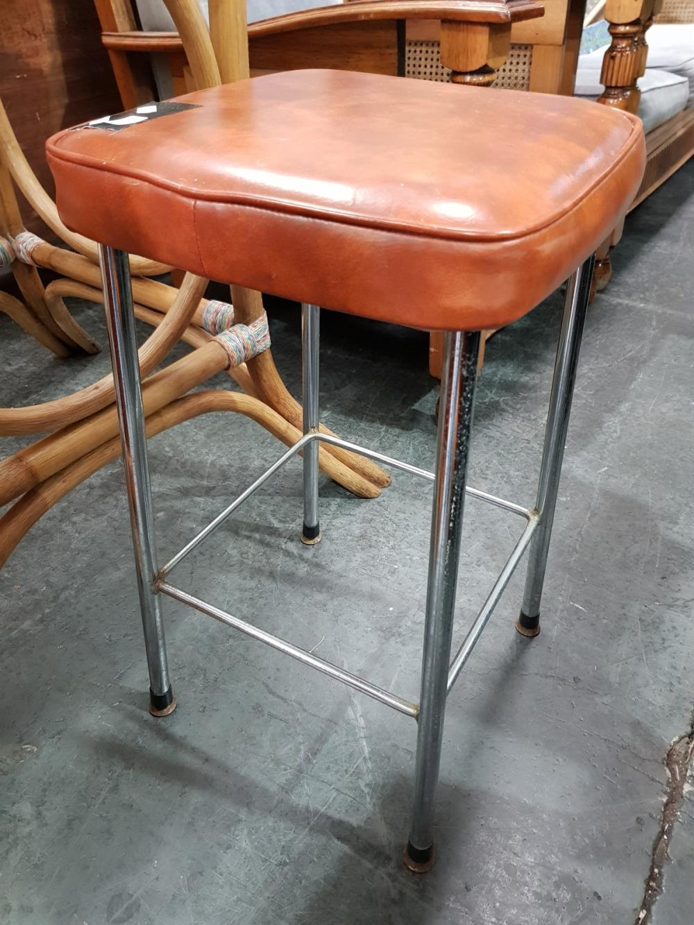 Pair of Leather Top Stools