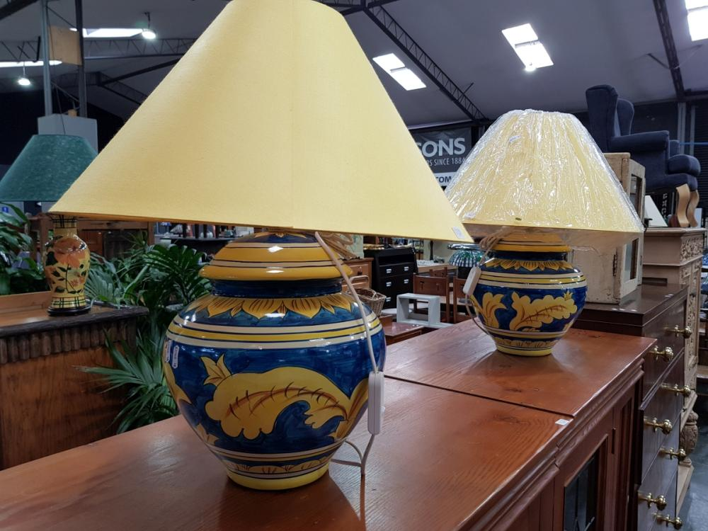 Pair of Large Blue & Yellow Ceramic Base Table Lamps (3310)