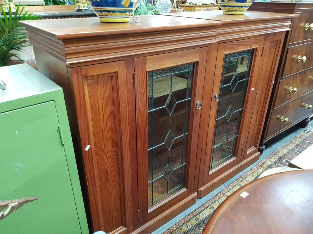 Pair of Pine Cabinets with Leadlight Doors