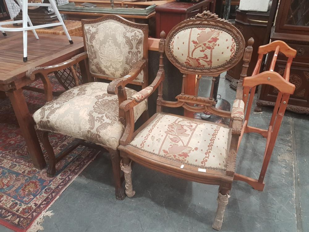 Carved Timber Framed Armchair & Another