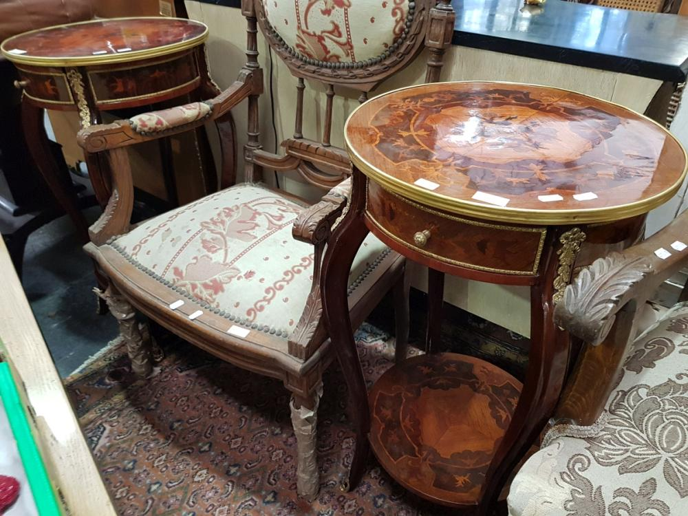 Pair of Tiered Inlaid Side Tables with Single Drawer