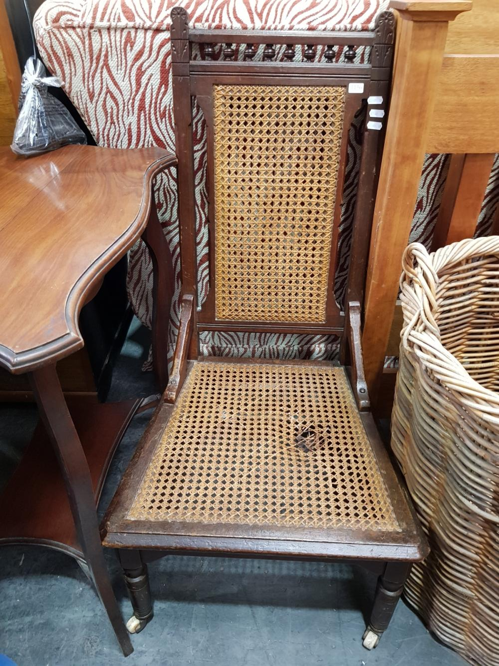 Rattan Back and Seat Bedroom Chair (A/F)