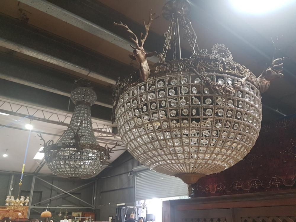 Large Basket Chandelier and Another